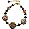 Gold and Black KLIMT Inspired Murano Glass Beads Bracelet 7 Inch
