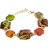 Machiavelli Multi Colors Gold Foil Murano Glass Beads Bracelet 7 1/4 Inch
