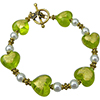 Green and Gold Murano Glass Hearts Bracelet 7.5 Inches