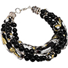 Black, Gold & Silver 4 Strand Murano Glass Bracelet, 8 Inches