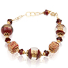 Venta Rossa Windows Murano Glass Bead Bracelet 6 1/2 Inches with Extension