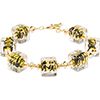 ZigZag Black and Gold Murano Glass Bead Bracelet, Gold Fill Elements 7.5 Inches
