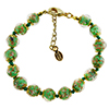 Green and Aventurina Authentic Murano Glass Beaded Bracelet 7 1/2 Inches with 1 1/4 Inch Extender, Gold Tone Clasp and Murano Tag