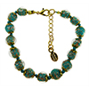 Verde Petrolio and Aventurina Authentic Murano Glass Beaded Bracelet 7 1/2 Inches with 1 1/4 Inch Extender, Gold Tone Clasp and Murano Tag