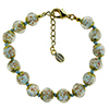 Pale Aqua and Aventurina Authentic Murano Glass Beaded Bracelet 7 1/2 Inches with 1 1/4 Inch Extender, Gold Tone Clasp and Murano Tag