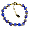 Cobalt Blue and Aventurina Authentic Murano Glass Beaded Bracelet 7 1/2 Inches with 1 1/4 Inch Extender, Gold Tone Clasp and Murano Tag