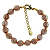 Opaque Pink and Aventurina Authentic Murano Glass Beaded Bracelet 7 1/2 Inches with 1 1/4 Inch Extender, Gold Tone Clasp and Murano Tag
