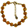 Transparent Topaz and Aventurina Authentic Murano Glass Beaded Bracelet 7 1/2 Inches with 1 1/4 Inch Extender, Gold Tone Clasp and Murano Tag