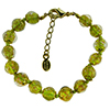 Transparent Green and Aventurina Authentic Murano Glass Beaded Bracelet 7 1/2 Inches with 1 1/4 Inch Extender, Gold Tone Clasp and Murano Tag