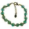 Verde Marino and Aventurina Authentic Murano Glass Beaded Bracelet 7 1/2 Inches with 1 1/4 Inch Extender, Gold Tone Clasp and Murano Tag