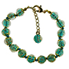 Verde Marino Authentic Murano Glass Beaded Bracelet 7 1/2 Inches with 1 1/4 Inch Extender, Gold Tone Clasp