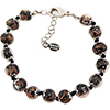 Black and Aventurina Authentic Murano Glass Beaded Bracelet 7 1/2 Inches Silver Tone Clasp with 1 1/4 Inch Extender, Murano Tag