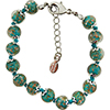 Verde Petrolio and Aventurina Authentic Murano Glass Beaded Bracelet 7 1/2 Inches with 1 1/4 Inch Extender, Silver Tone Clasp and Murano Tag
