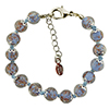 Pale Blue and Aventurina Authentic Murano Glass Beaded Bracelet 7 1/2 Inches with 1 1/4 Inch Extender, Silver Tone Clasp and Murano Tag
