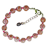 Opaque Pink and Aventurina Authentic Murano Glass Beaded Bracelet 7 1/2 Inches with 1 1/4 Inch Extender, Silver Tone Clasp and Murano Tag