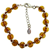 Transparent Topaz and Aventurina Authentic Murano Glass Beaded Bracelet 7 1/2 Inches with 1 1/4 Inch Extender, Silver Tone Clasp and Murano Tag