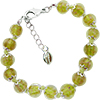 Transparent Green and Aventurina Authentic Murano Glass Beaded Bracelet 7 1/2 Inches with 1 1/4 Inch Extender, Silver Tone Clasp and Murano Tag