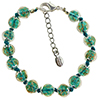 Verde Marino and Aventurina Authentic Murano Glass Beaded Bracelet 7 1/2 Inches with 1 1/4 Inch Extender, Silver Tone Clasp and Murano Tag