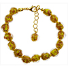 Yellow Murano Glass Bead Bracelet 7.5 Inch  with 1 1/4 Inch Extender, Gold Tone Clasp Authentic Murano Glass Beaded