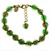 Emerald Murano Glass Bead Bracelet 7.5 Inch  with 1 1/4 Inch Extender, Gold Tone Clasp Authentic Murano Glass Beaded