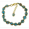 Aqua  Murano Glass Bead Bracelet 7.5 Inch  with 1 1/4 Inch Extender, Gold Tone Clasp Authentic Murano Glass Beaded