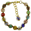 Multi Colors Murano Glass Bead Bracelet 7.5 Inch  with 1 1/4 Inch Extender and Black Cord, Gold Tone Clasp