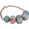 Pink and Aqua Signature European Charm Bracelet with Sterling Silver Snake Bracelet