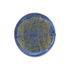 Blue Coin Straight Sides Gold Foil  Murano Glass 20mm