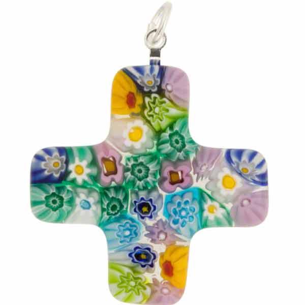 Venetian Glass Greek Cross 30x30 Pendant Multi Pastels