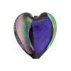 Black with Dichroic Heart 21mm Venetian Bead