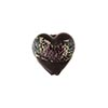 Murano Glass Bead 13mm Silver Pink Black Dichroic Heart