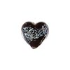 Murano Glass Bead 13mm Silver Crystal Black Dichroic Heart