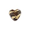 Murano Glass Bead 13mm Gold Salmon Black Dichroic Heart