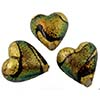 Golden Coral Shimmers Dichroic Heart 20mm