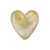 Venetian Bead Golden Sparkles Dichroic Heart 20mm Aquamarine