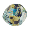 Venetian Bead Dichroic Sparkles Pebble, Aquamarine Gold 25mm