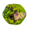 Venetian Bead Dichroic Sparkles Pebble, Green Gold