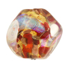 Venetian Bead Dichroic Sparkles Pebble, Red Gold 25mm