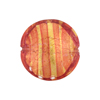 Striped Rubino Gold Foil Murano Glass Lentil Disc 20mm