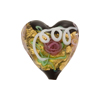 Venetian Bead Wedding Cake Heart 20mm, Black