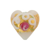 Venetian Bead Wedding Cake Heart 20mm, White
