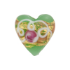 Venetian Bead Wedding Cake Heart 20mm, Green