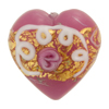 Wedding Cake Heart 28mm Pink, Murano Glass Bead