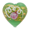 Wedding Cake Heart 28mm Green, Murano Glass Bead