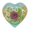 Wedding Cake Heart 28mm Light Aqua, Murano Glass Bead