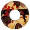Red and Black Abstract Fused Murano Glass Bead 32mm, 10mm Hole