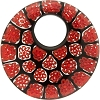 Red Black Lace Circles Top Hole Donut Fused Pendant 42mm Murano Glass