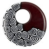 Red, Black & White Abstract Mosaic Murano Glass Donut Pendant 42mm