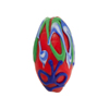 Red/Green, Cobalt Blue Lampwork Decorative Oval
