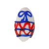 Red/Blue Lampwork Decorative Oval White